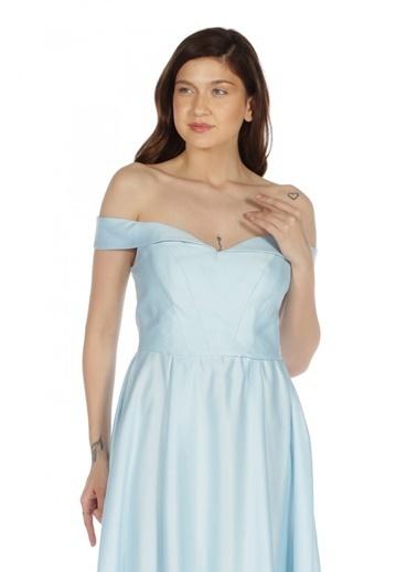 Pierre Cardin Düşük Omuzlu Abiye Elbise Mavi